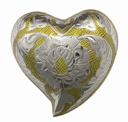 Brass Heart - Gold Flower with Stand #Urn1587H