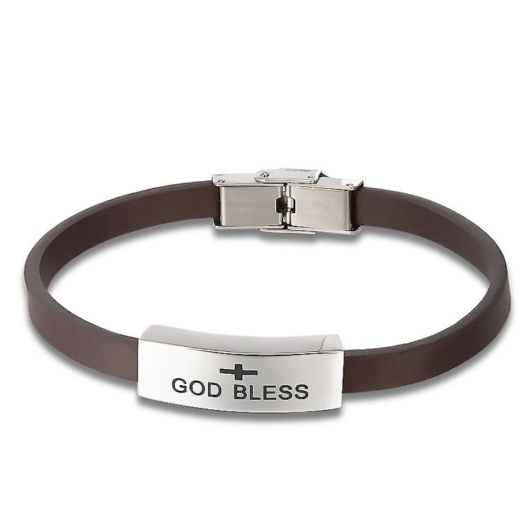 God Bless Cremation Bracelet with Brown Band