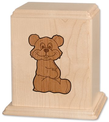 Teddy Bear White Maple Child Urn